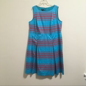 Talbots Turquoise Red Striped Flare Dress 16w